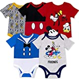 Disney 5-Pack Baby Boy Onesies with Mickey, Donald, Goofy for Infant...