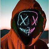 Beautsoful 2021 Halloween-Leuchtmaske, LED-Maske, EL-Draht, gruselige...