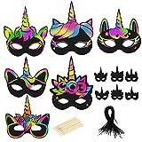 BIGKASI 24Pcs Einhorn Masken Set DIY Kratzbild Regenbogen Kratzpapier...
