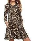 CNFIO Elegant Freizeitkleider T Shirt Kleid Damen Leopard Langarm...