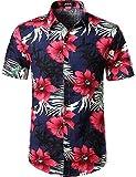 JOGAL Herren Casual Floral Blumenmuster Kurzarm Hawaiihemd 3X-Large...
