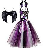 OBEEII Mädchen-Maleficent Kostüm Schwarz Böse Fee Stiefmutter...