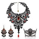 Schwarze Spitze Halskette und Ohrringe Set , BagTu Gothic Lolita Red...