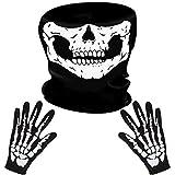 LYTIVAGEN Schädel Gesichtsmaske mit 1 Paar Skelett Handschuhe Skull...