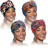 SATINIOR 4 Stück Afrikanische Muster Kopfbedeckung Pre-Gebunden...
