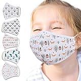 Jago® Kinder Stoffmaske - 5 Stück, Waschbar bis 60°, 3D Druck...