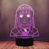 Naruto Hinata Hyuga Byakugan 16 Farben 3D LED Nachtlicht, Naruto Dekor...