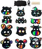 Queta Maske Unbemalt, 24 Sets Kratzpapier Tiermasken zum bemalen DIY...