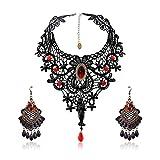 SEELOK 3Stk Schwarze Spitze Halskette mit Ohrringe Set, Gothic Schmuck...