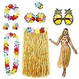 PHOGARY 8 Teilig Hawaii Mottoparty Kostüme Set, Hula Rock...