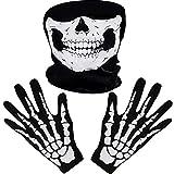 Weiße Skelett Handschuhe und Schädel Gesichtsmaske Geist Knochen...