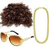Gejoy Hippie Kostüm Set Funky Afro Perücke Sonnenbrille Halskette...