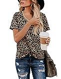 BMJL Leoparden Oberteil Damen Hemd Kurzarm T Shirt Bluse Damen Elegant...