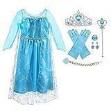 URAQT ELSA Kleid Prinzessin Kostüm Kinder Mädchen, ELSA Krone Kleid...