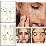Xinlie 2 Stück Tätowierungsaufkleber Metallic Flash Tattoos Face...