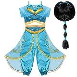Tacobear Jasmin Kostüm Kinder mit Perücke Jasmin Kleid für Mädchen...