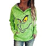 Grinch Hoodie Damen, Teenager Mädchen Grinch Pullover Frauen 3D...