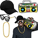 Hip Hop Kostüm Kit Hut Sonnenbrille Gold Kette 80s/ 90s Rapper...
