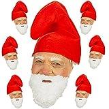 Spassprofi 7 Zwergenmützen rot + Bart Hut für Kostüm Zwerge Gnom...