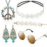 Hippie Kostüm Set mit Sonnenbrille, 5 Stück Hippie Kleidung Damen...