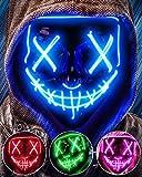 AnanBros Halloween Maske, LED Purge Maske im Dunkeln Leuchtend,...