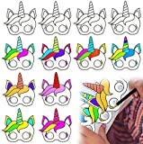 BeYumi 12 Stück DIY Einhorn Papiermasken für Kinder Geburtstag...