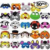 THE TWIDDLERS 50 Stück Tiermasken aus Schaumstoff für Kinderpartys -...