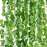 KASZOO® Efeu Künstlich Girlande, 12 Stück Grün Efeu mit Nylon...