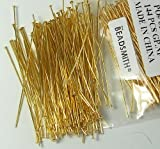 144 Head Pins .029dia X 2.25 Inch Gold Plating Over Brass Standard 21...