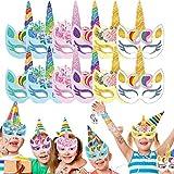 Miotlsy Einhorn Masken 24 Stück Masken-Sets Einhorn für Kinder zum...