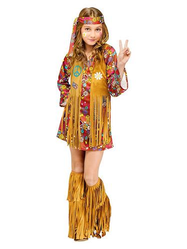 70er Jahre Flower Power Hippie Kostüm Kinder